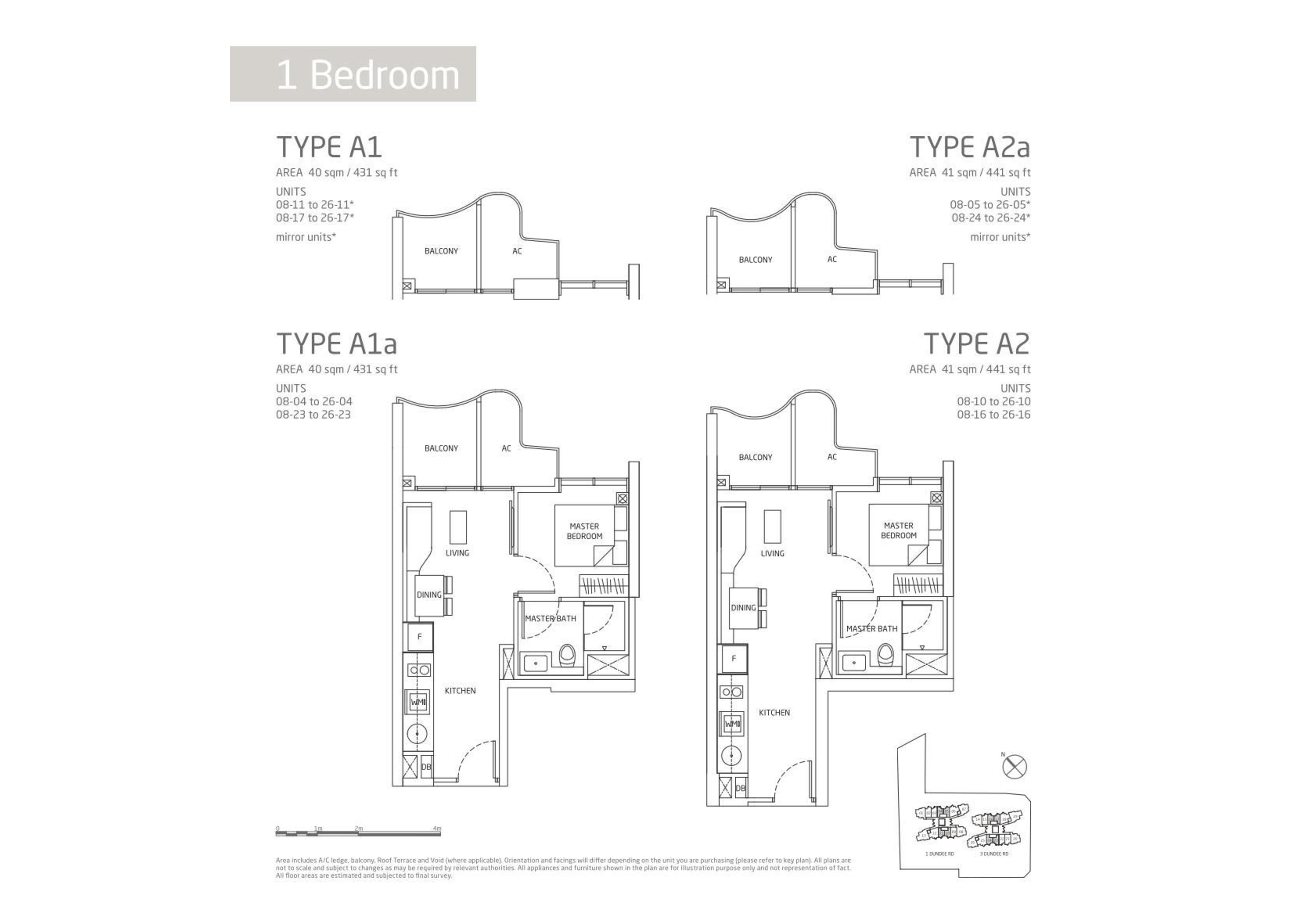 Queens Peak 1 Bedroom Floor Plans Type A1, A1a, A2 and A2a