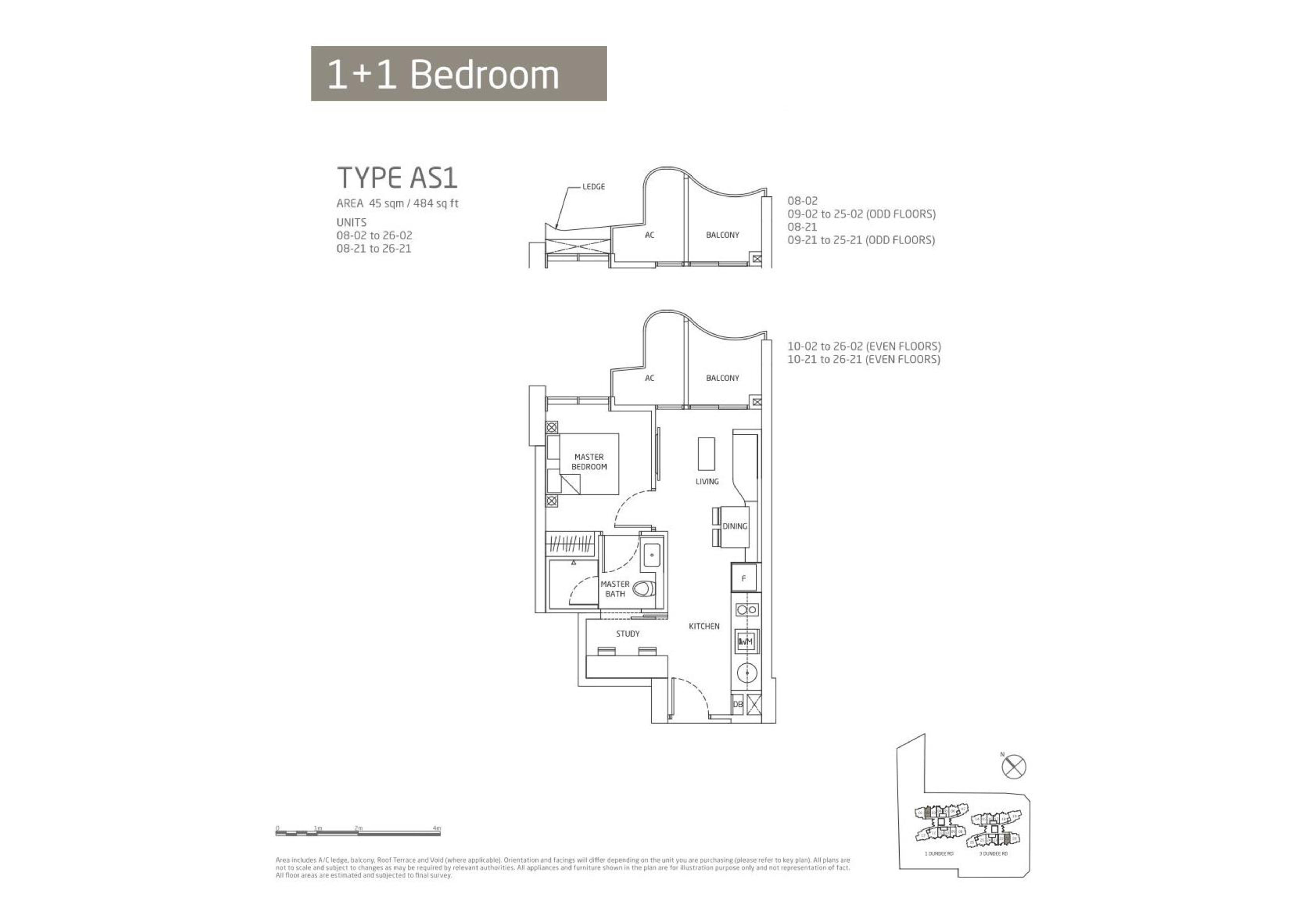 Queens Peak 1 Bedroom + Study Floor Plans Type AS1