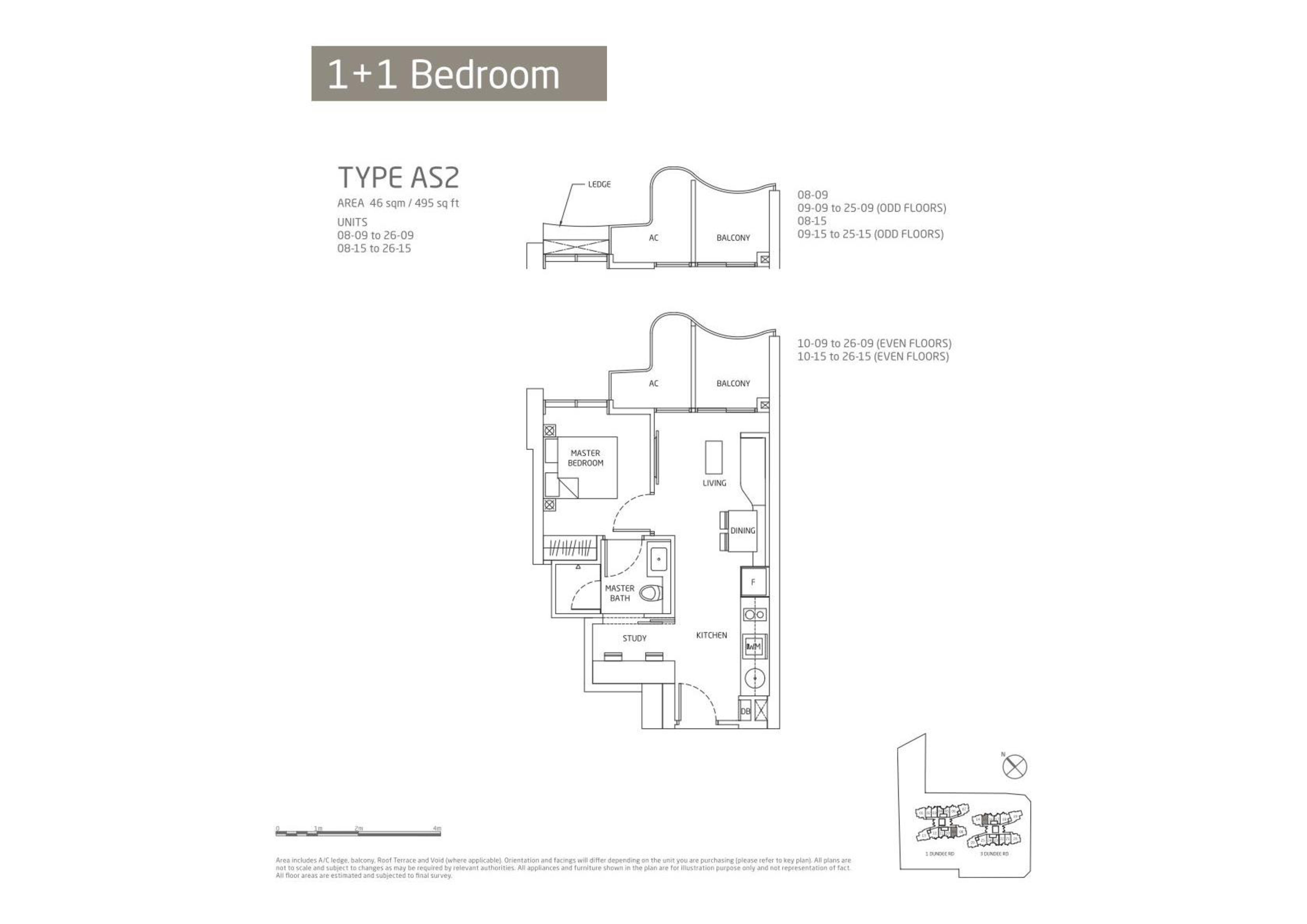 Queens Peak 1 Bedroom + Study Floor Plans Type AS2