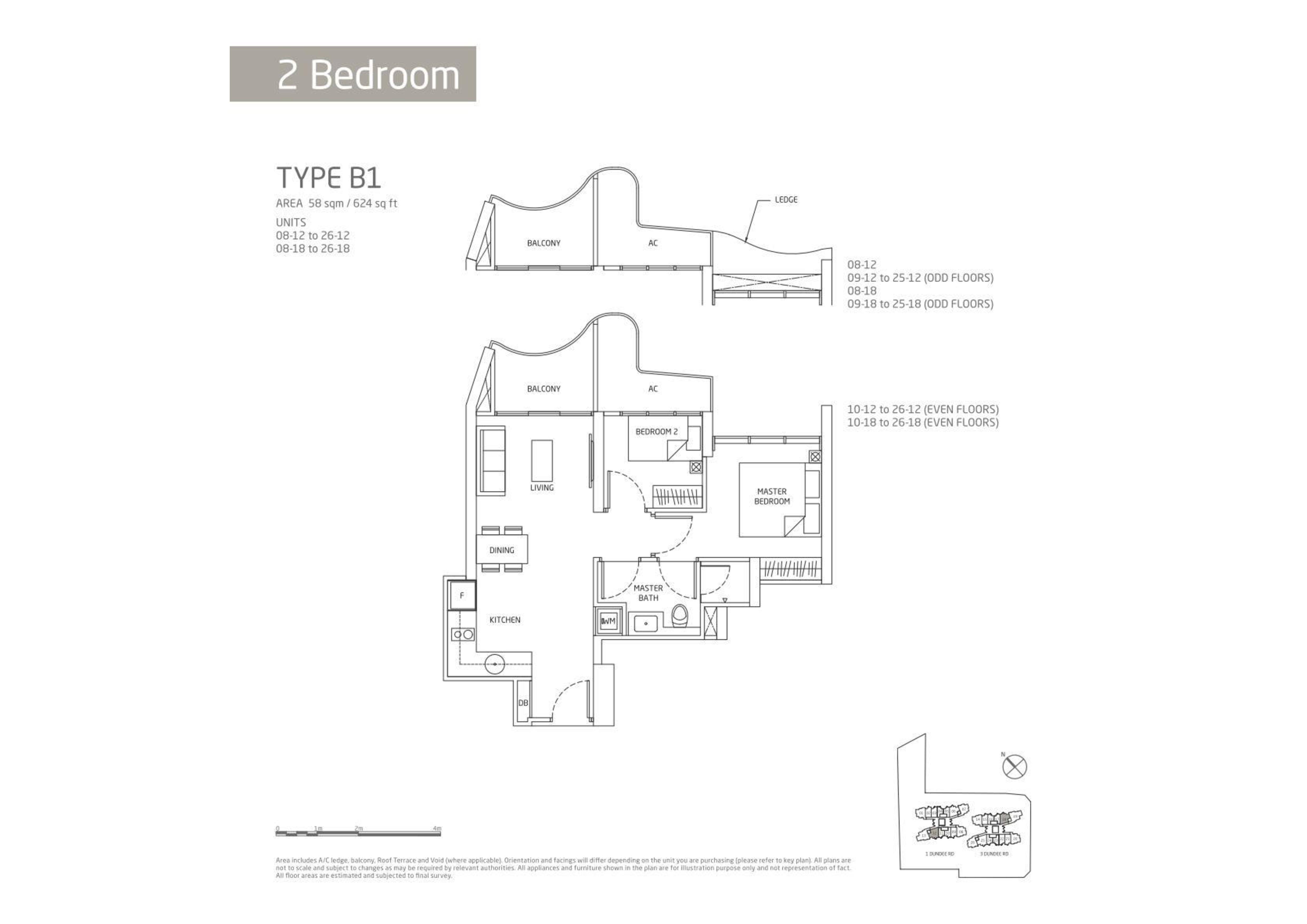 Queens Peak 2 Bedroom Floor Plans Type B1