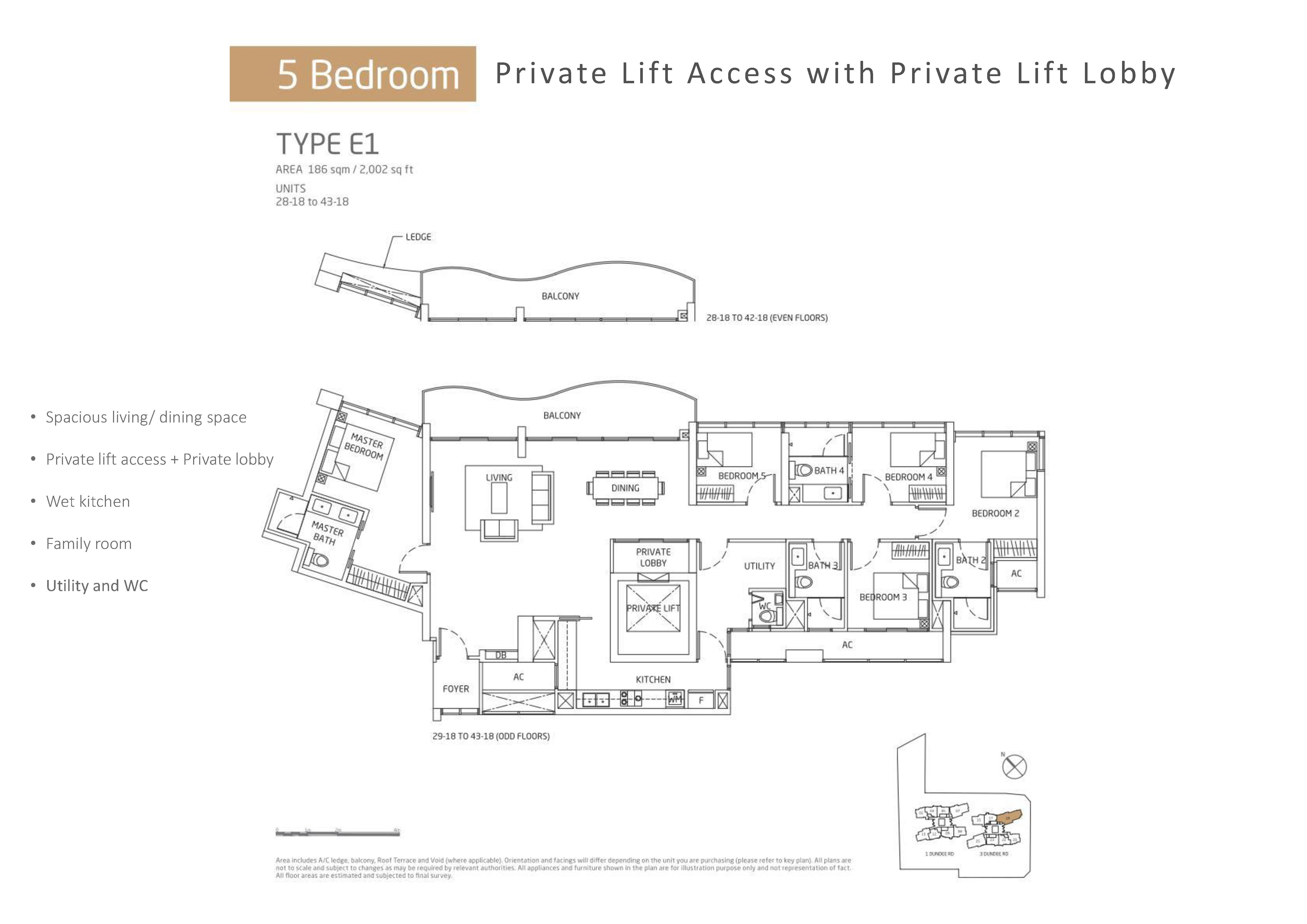 Queens Peak 5 Bedroom Floor Plans Type E1